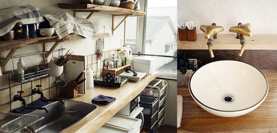 3階には共用のキッチンやシャワールームなど。大きな洗面ボウルは「大屋窯」にオリジナルで作ってもらったもの。