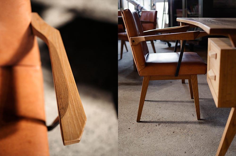 肘掛けは絶妙なカーブを描いている。出来上がった家具を自分で実際に使ってみては、変化を加えていく。