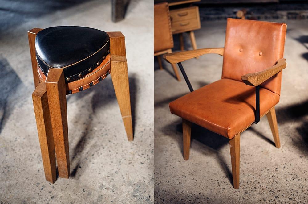 忠弦さんオリジナルの椅子。左の椅子は、スタッキングができるため、車に積んでキャンプにも持って行ける。ロボットの形を真似たフォルムがユニーク。