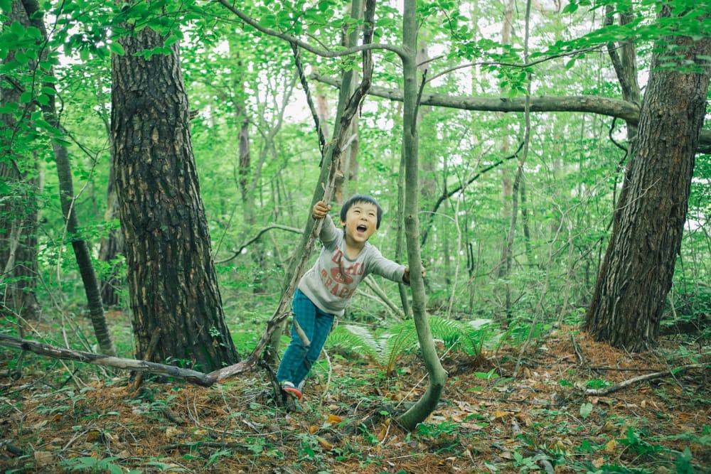 森を散策する土屋さんと子どもたち。家の前にあるこの場所には、ほぼ毎日訪れているという。