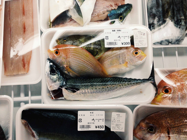 対馬の産地直売所に並ぶ新鮮な魚は、どれも漁師の愛が感じられる。