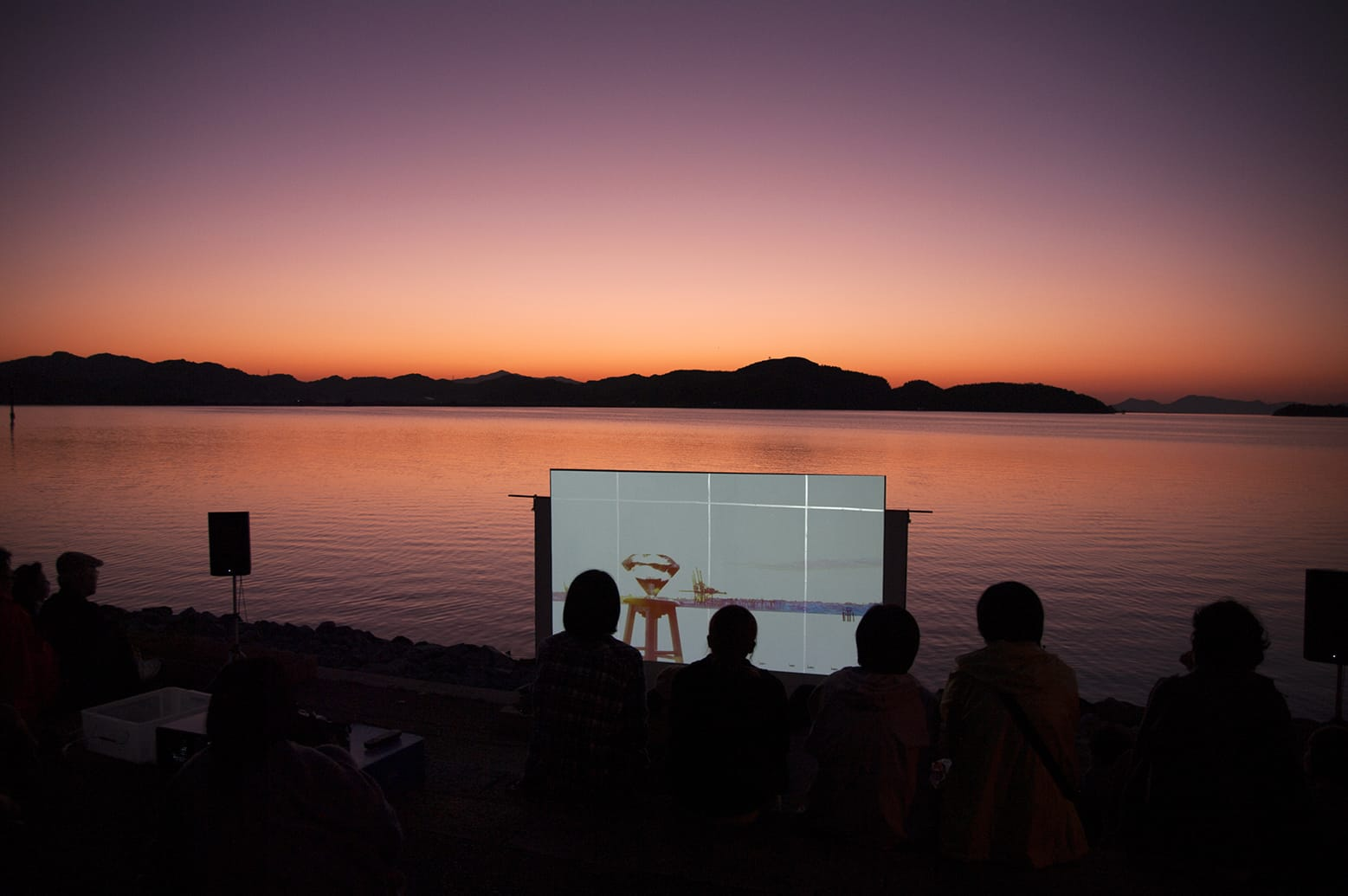 Khan Lee, Hearts and Arrows,2013(projection mapping at Nakaumi 2014). photo by Shin Shiroeda