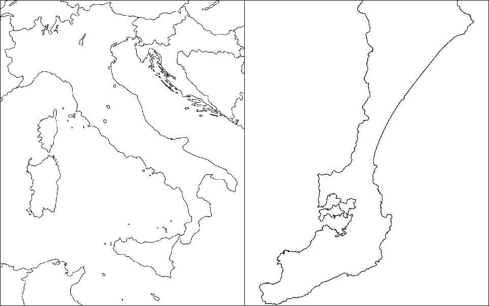 左:イタリア地図 右:能登半島の地図を逆さにしたもの