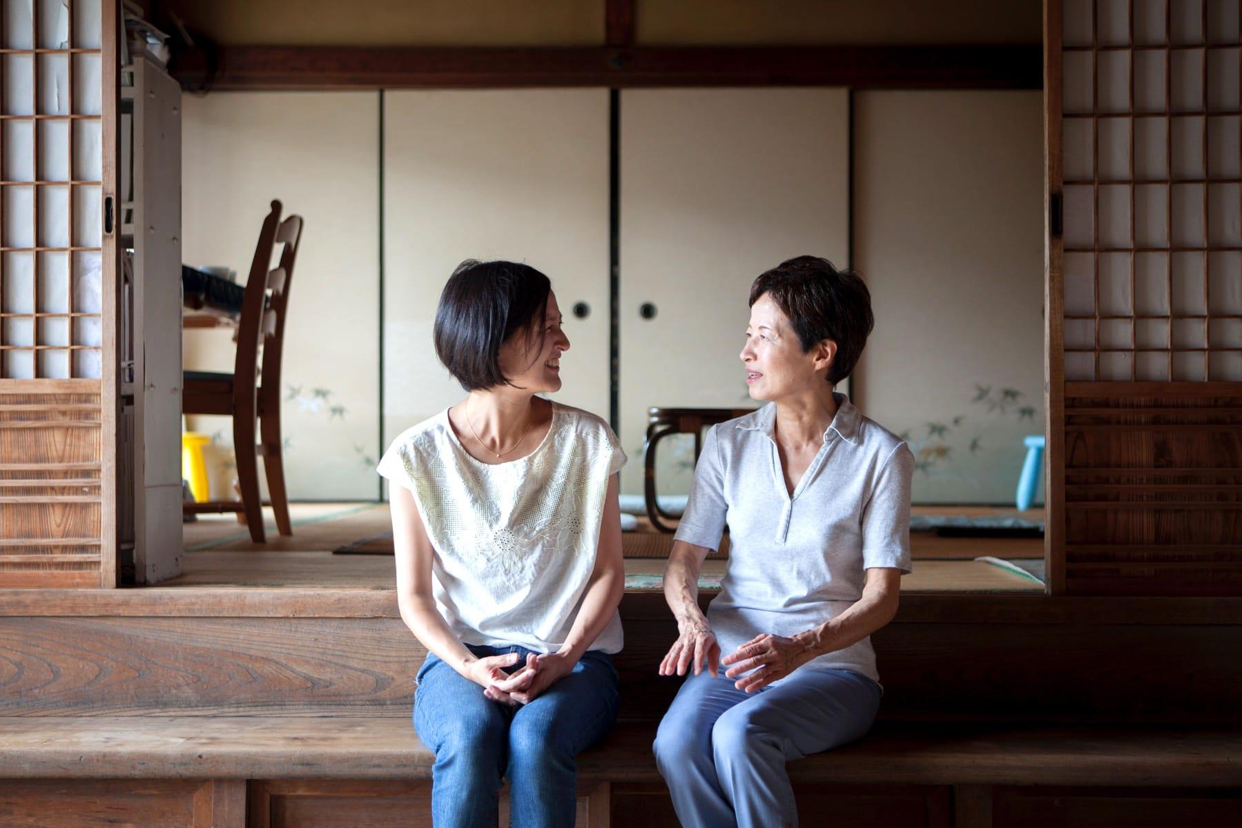 赤尾家にて、赤尾さんとお母さんと一緒に。
