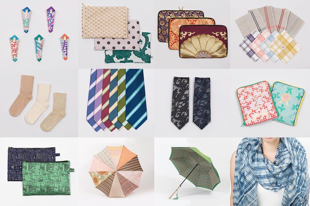 12社からなる「ヤマナシハタオリトラベル」の商品の一部。(イベントでは販売されない商品もあります)