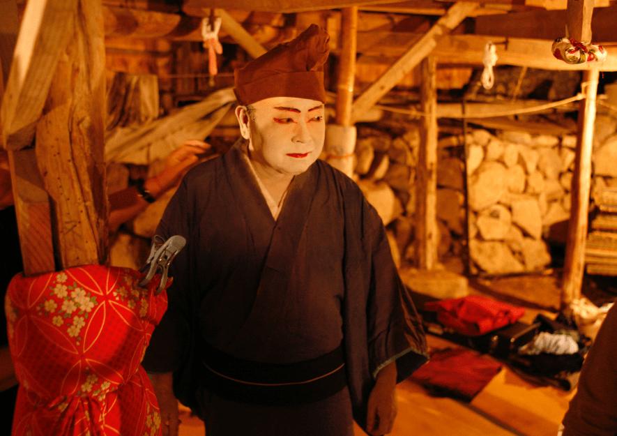 農村歌舞伎に出演されていた小豆島町長・塩田幸雄さん。