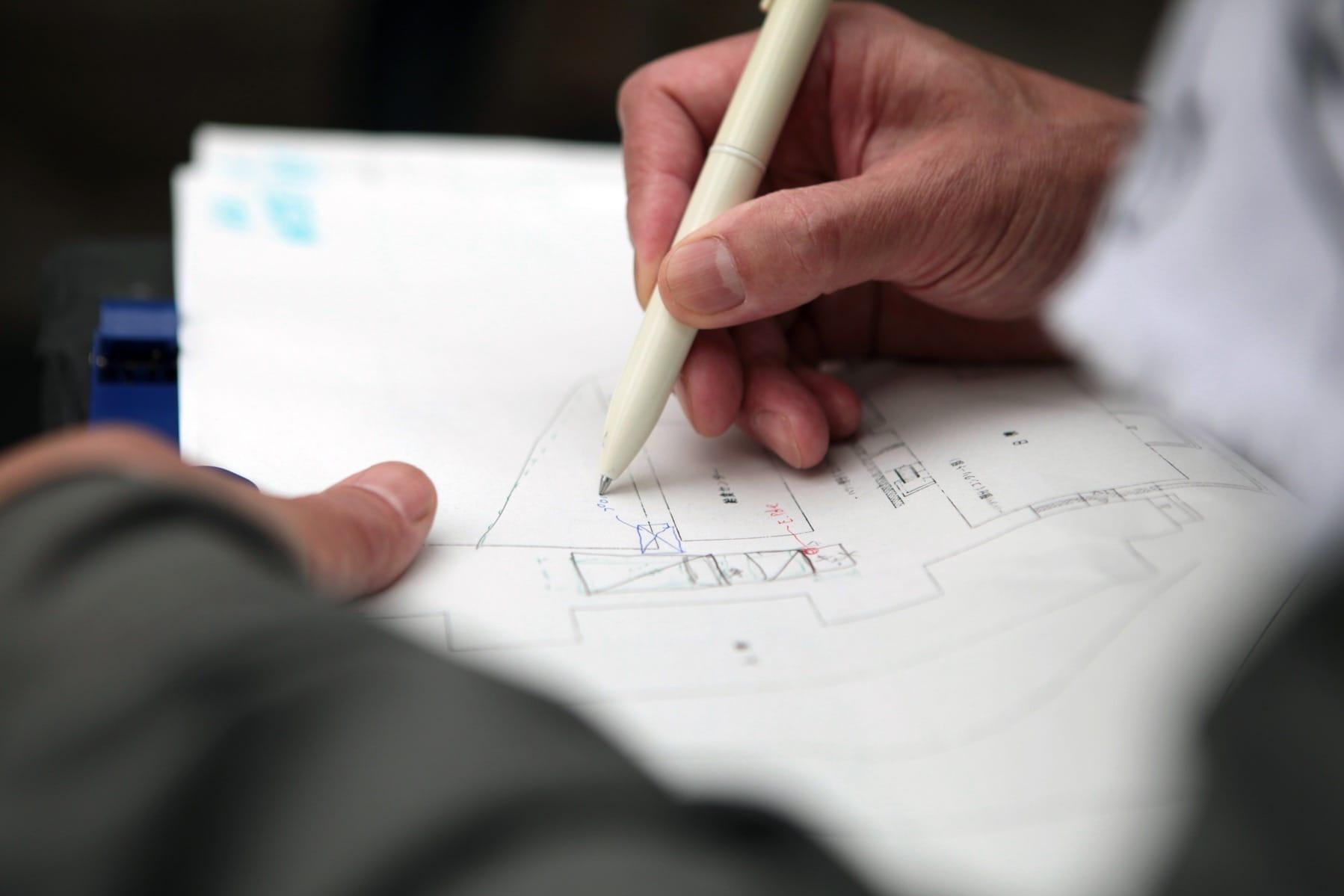田瀬さんのノート。調査からわかったことは、ひとつひとつ図面に落とこまれていきます。