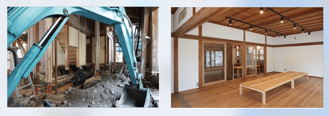 すみはじめ住宅「西分の家」の改修中のようす。左下は完成した「西分の家」の共有サロン。