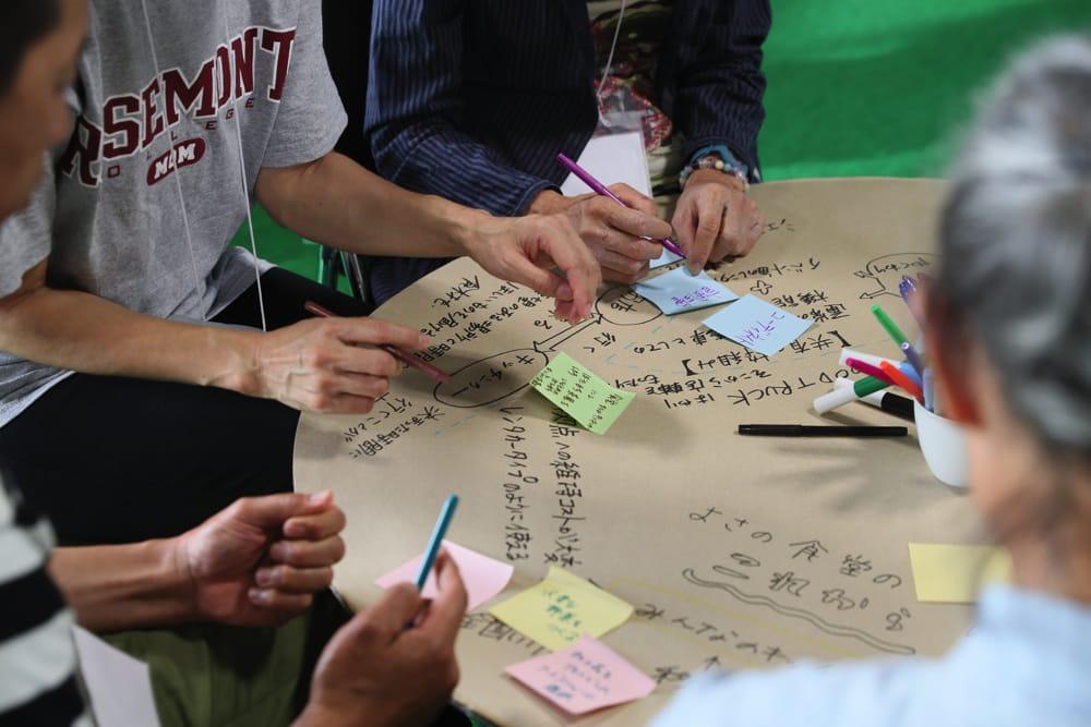 「自分にできること」「どう関われるか?」を付箋に書いて、役に立てそうなアイデアの近くに貼付け。