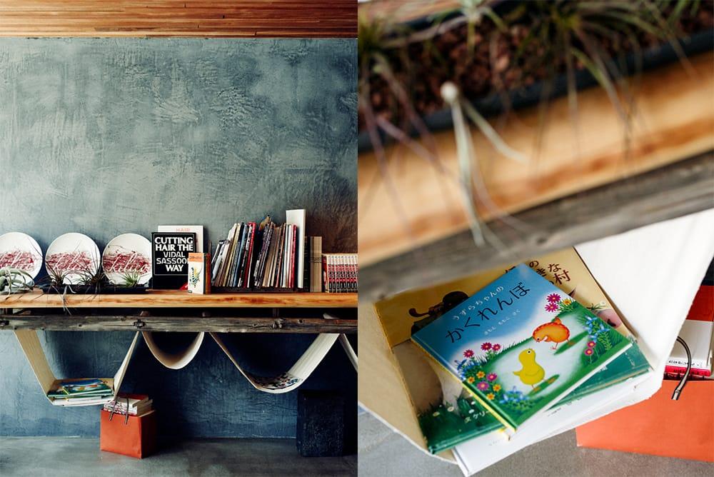 地元の家具職人・中原忠弦さんによる特注の大きなソファで、ゆったりくつろぎながら読書が楽しめる。