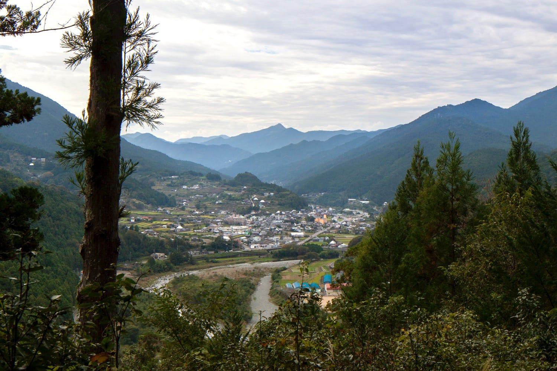 鮎喰川の両岸にせりあがるように家々が建つ、神山の風景。