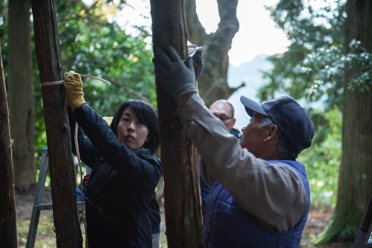 横木を結わえ付ける紐を結ぶ。区長のマサミチさんから直々に結び方を習う(が、すぐこんがらがる)。