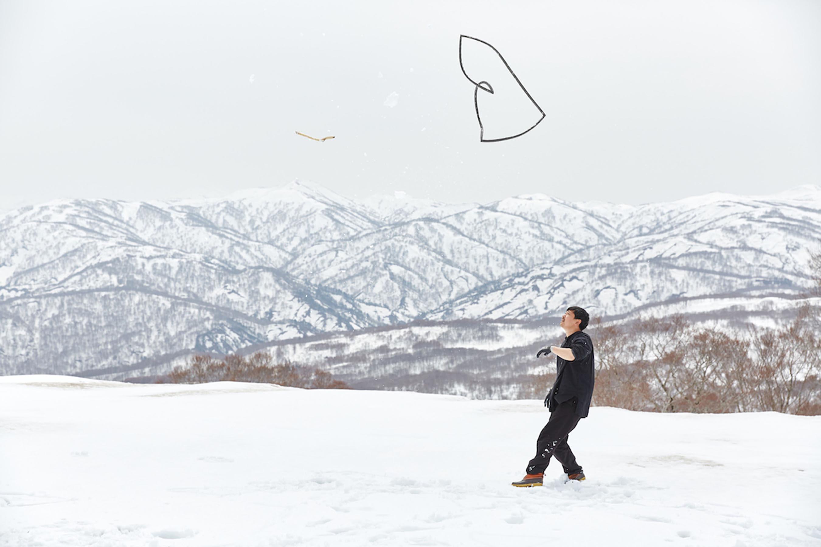 大原大次郎さん《もじばけ》のためのスタディ/月山にて根岸功撮影