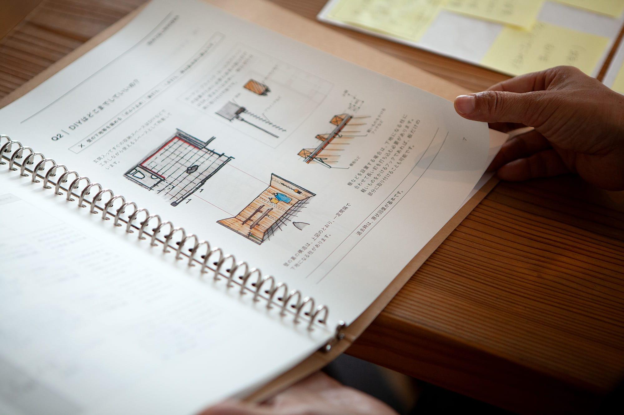 設計チームから受け取った原稿をアレンジしつつ、一戸ごとに異なる寸法を反映させてつくられたという『住みこなしブック』